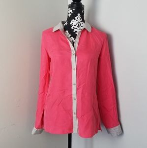 Trouve pink silk button-front blouse small